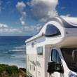Camper parked on the beach at Buggerru, Sardinia, Italy — Stock Photo