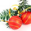 Stock Photo: Two Christmas balls with Christmas tree over white