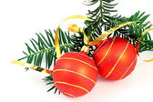 Two Christmas balls with Christmas tree over white — Stock Photo