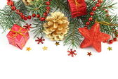 白で分離されたクリスマス組成 — ストック写真