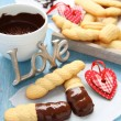 Homemade shortbread cookies with chocolate and hearts — Stock Photo #18929695