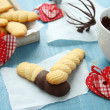 Homemade shortbread cookies with chocolate and hearts — Stock Photo