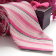 Tie and gift box with flowers — Stock Photo