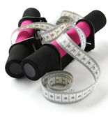Black-pink soft dumbbell with handle strap and measuring tape — Photo