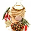 Pepper, olive oil, chinese garlic , herbs and spices — Stock Photo #24503835