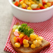 Stock Photo: Sliced rye bread with homemade corn salsa