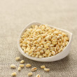 Wheat grains in white ceramic bowl on sackcloth background — Stock Photo #26807391