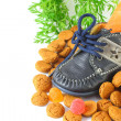Childrens shoe with carrot voor Sinterklaas and pepernoten — Stock Photo #29137633
