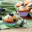 Delicious homemade blueberry muffins with fresh blueberries — Stock Photo