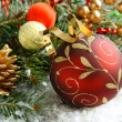 Christmas composition with christmas ball and decoration — Stock Photo #32286543