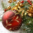 Christmas composition with christmas ball and decoration — Stock Photo