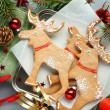 Stock Photo: Homemade christmas elk-shaped cookies with christmas decoration.