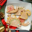 Homemade gingerbread cookies with icing. Different animal shapes — Stock Photo