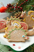 Christmas animal-shaped cookies with festive decorations — Stock Photo