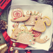 Homemade gingerbread cookies with icing. Different animal shapes — Stock Photo #34053355