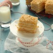 Napoleon cake - layer cake from puff pastry with custard cream — Stock Photo