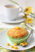 Freshly baked corn muffins on the plate — Stock Photo