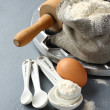 Ingredients and tools to make russian pelmeni — Stock Photo #38199825