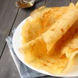 Stock Photo: Gluten free crepes from rice flour, potato starch and millet flour with honey