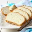 Fresh from the oven sliced gluten free bread on plate — Stock Photo #43169413