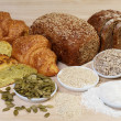 Variety of bread and ingredients - Stock Photo