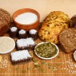 Bread, pastry, candies and ingredients - Stock Photo