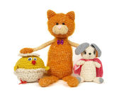 Three knitted toys — Stock Photo