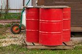 Three fire barrels — Stock Photo