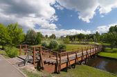 New wooden bridge — Стоковое фото