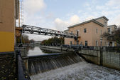 Lock on Yauza river in Moscow — Stock Photo