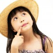 Beautiful asian little girl thinking — Stock Photo