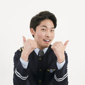 Cheerful airline pilot — Stock Photo