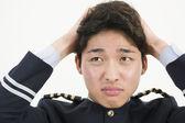 Asiatische Airline Pilot betont — Stockfoto