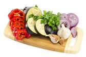 Cut vegetables on the board — Stock Photo