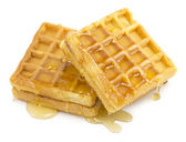 Waffle, honey — Stock Photo