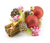 New Year, Christmas balls, decorations and gifts — Stock Photo