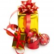 Wrapped presents with bows and ribbons — Stock Photo
