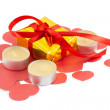 Foto Stock: Ribbons, bows, gift box, candle, heart