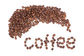 Coffee beans, letters — Stock Photo