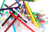 Paper clips and pencils — Stock Photo
