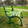 Broken green bench — Stock Photo