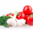 Garlic, tomato, dill — Stock Photo