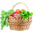 Radish, tomato, lettuce, basket — Stock Photo