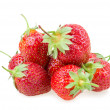 Juicy ripe strawberries with leaves — Stock Photo