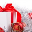 Stock Photo: Box red ribbon bow silver tinsel