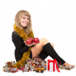 Woman with christmas decorations — Stock Photo #34347493