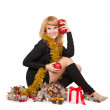 Woman with christmas decorations — Stock Photo