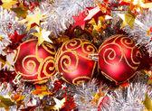 Tinsel Christmas ball — Stock Photo