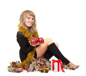 žena s vánoční ozdoby — Stock fotografie