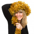 Woman with tinsel on her head — Stock Photo
